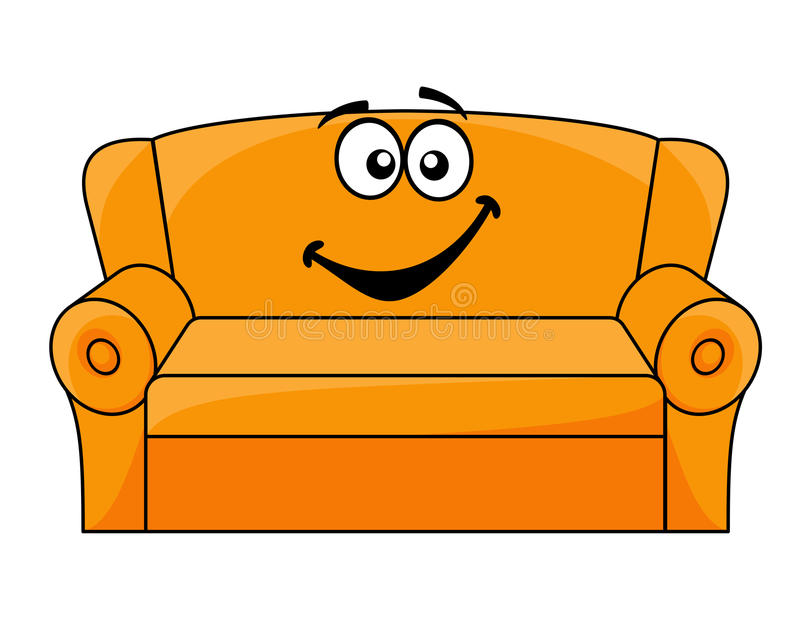 Cartoon Upholstered Couch Stock Vector Illustration Of