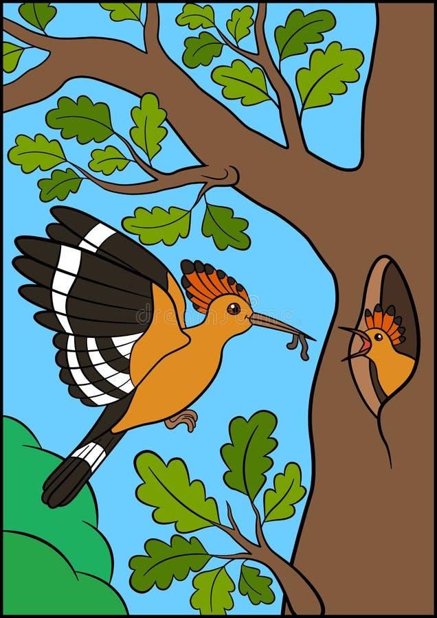 Cartoon birds. Mother hoopoe feeds her little cute baby vector illustration