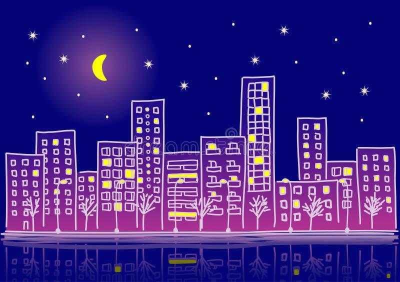 Cartoon urban night with gradients royalty free illustration