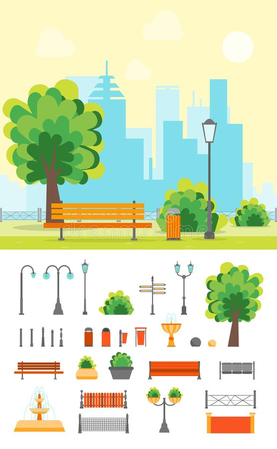 Cartoon Urban Park with Bench and Element Set. Vector. Cartoon Urban Park with Bench on a Landscape Background and Element Set Flat Design Style. Vector royalty free illustration