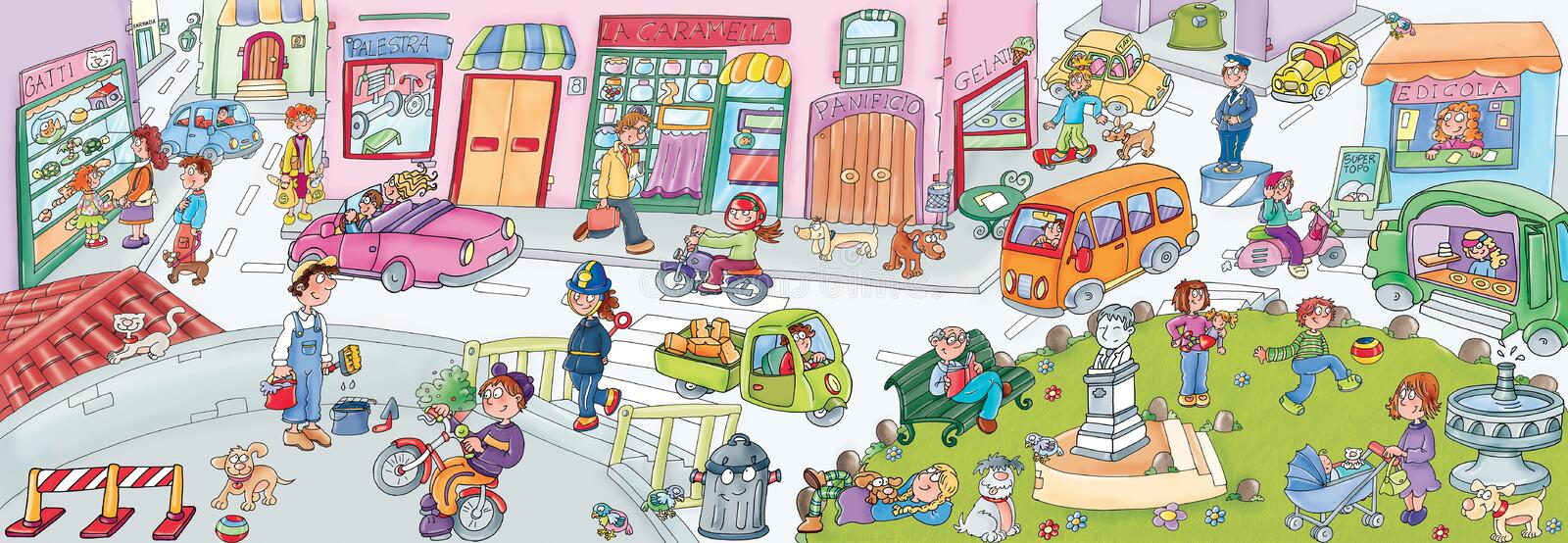 Cartoon urban street scene. Cartoon street full of characters and transport royalty free illustration