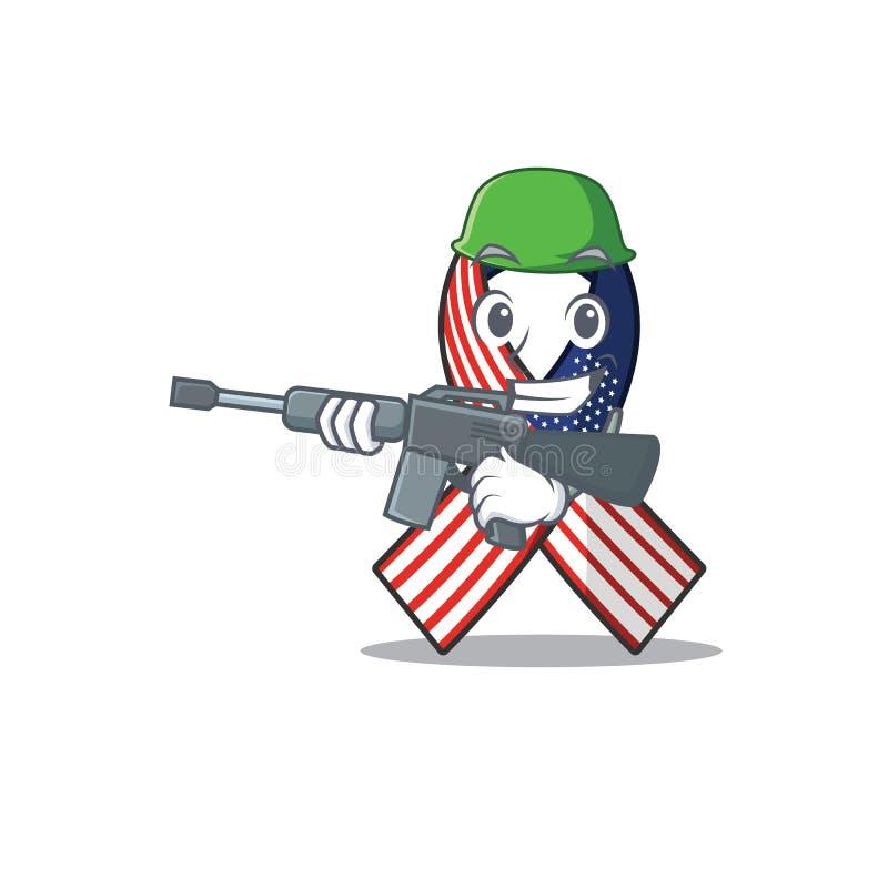 Cartoon usa ruban avec le personnage de l'armée illustration de vecteur