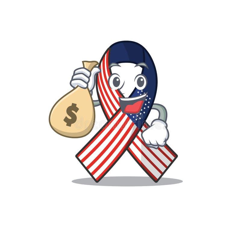Cartoon usa ruban avec le personnage de sac à monnaie illustration libre de droits