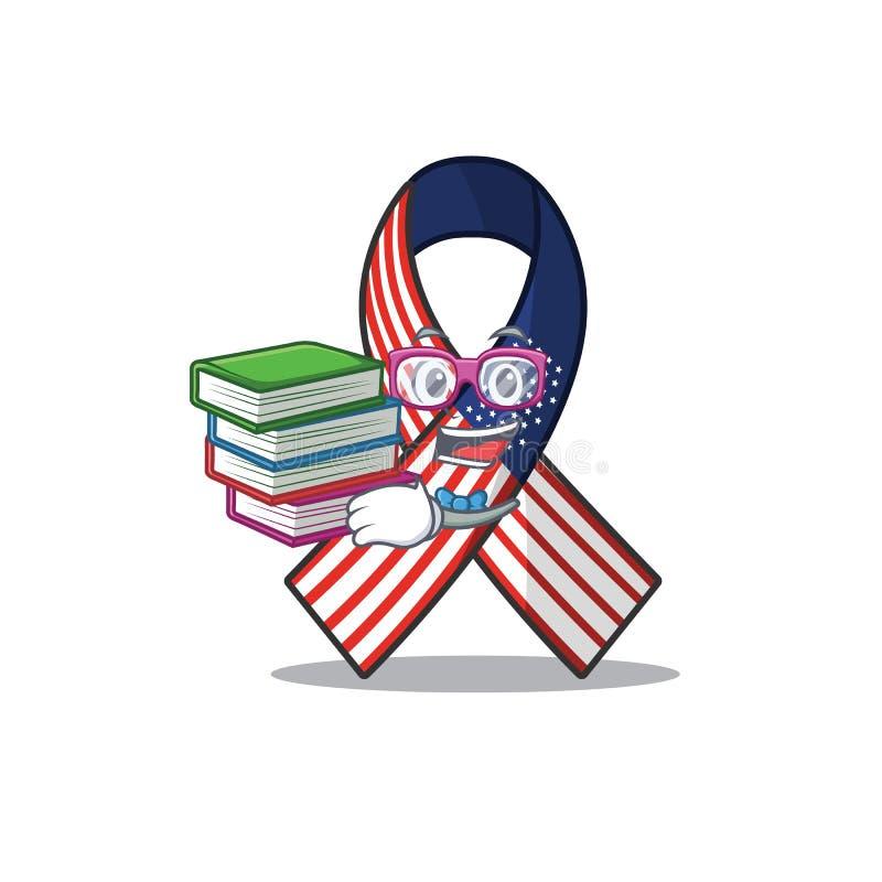 Cartoon usure ruban avec l'étudiant en personnage apporter livre illustration libre de droits