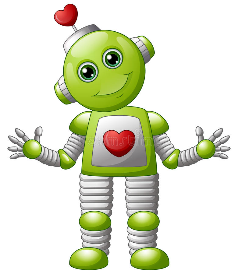 Cartoon valentine robot stock illustration