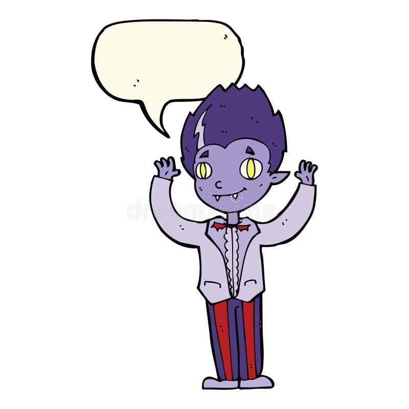 Cartoon vampire boy with speech bubble royalty free illustration