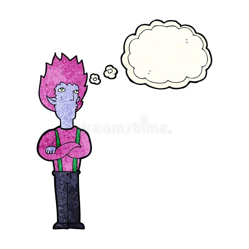 Cartoon vampire man with thought bubble stock illustration