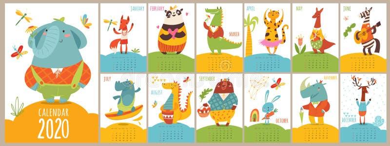 Cartoon vector 2020 calendar with funny wild animals stock photos