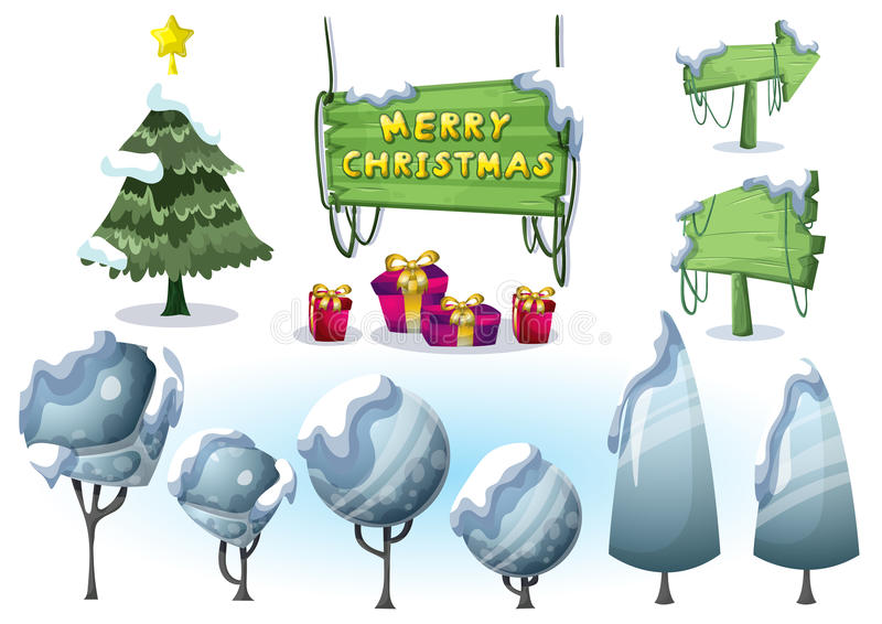 Cartoon vector christmas landscape object with separated layers for game and animation. Game design asset in 2d graphic vector illustration