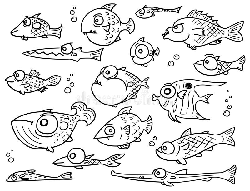 Cartoon Vector Collection Set of Hand Drawn Cute Fish royalty free illustration