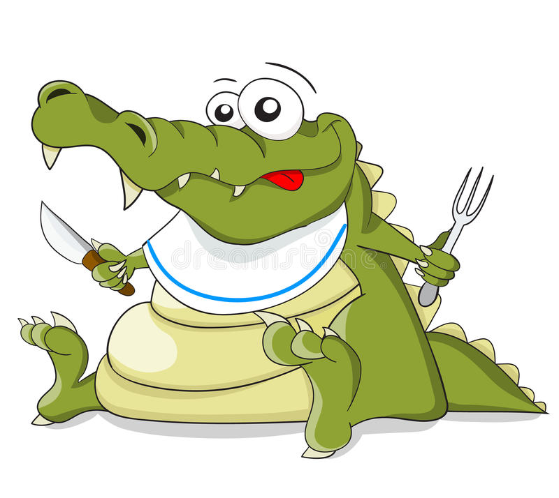 Cartoon vector crocodile with knife and fork stock illustration