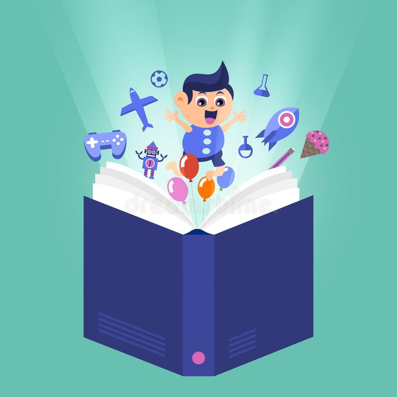 Cartoon vector design concept children learnning and education w. Ith books. Vector illustrations royalty free illustration