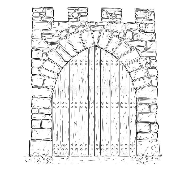 closed door drawing. Modren Door Download Cartoon Vector Of Stone Medieval Decision Gate Closed By Wooden  Door Stock  Illustration For Drawing L