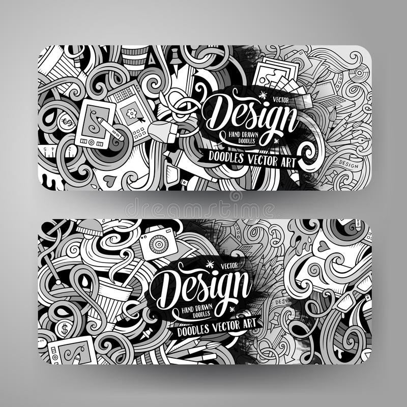 Cartoon Vector Doodles Artistic Banners Stock Vector - Illustration ...
