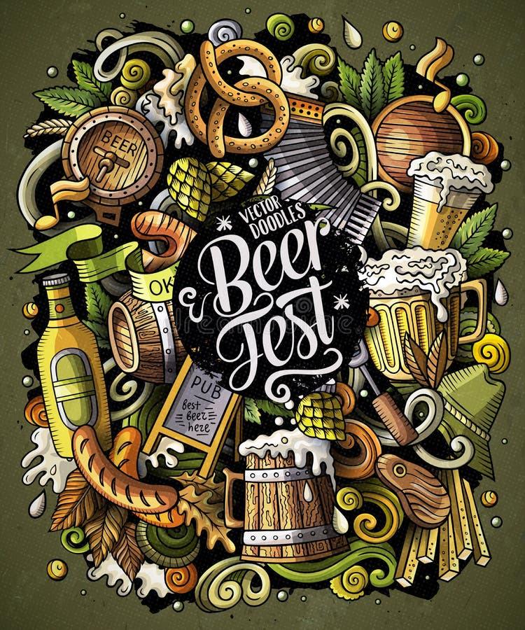 Cartoon vector doodles Beer fest illustration. Oktoberfest funny picture stock illustration