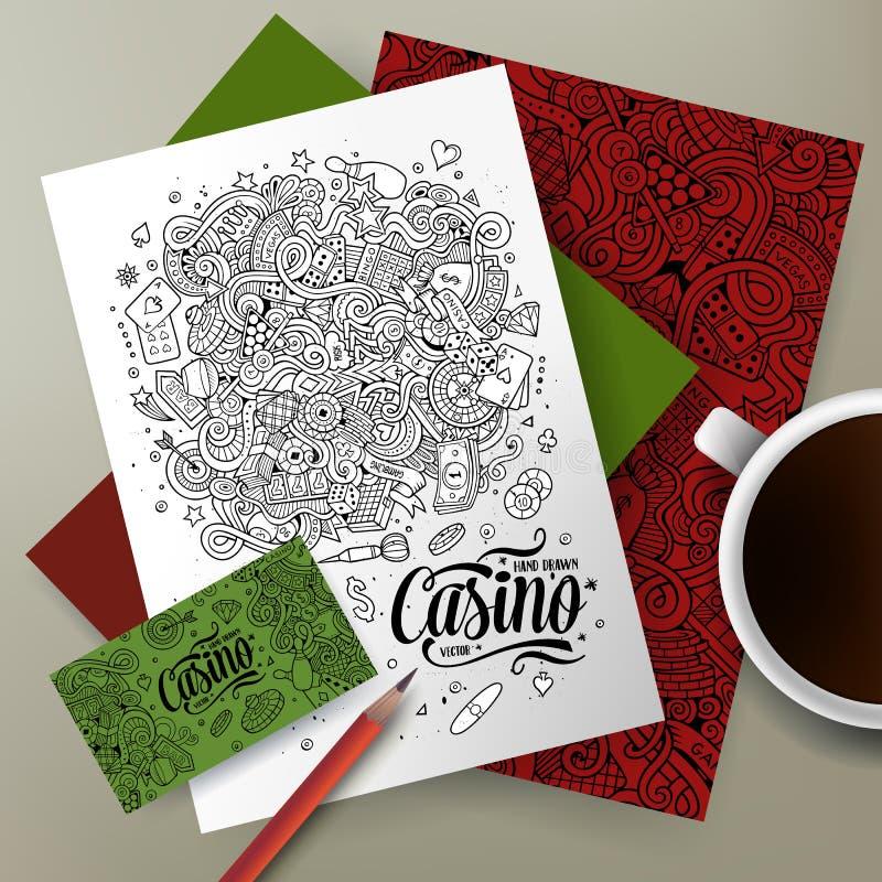 Cartoon vector doodles Casino corporate identity set. Cartoon cute sketch vector hand drawn doodles Casino corporate identity set. Templates design of business vector illustration