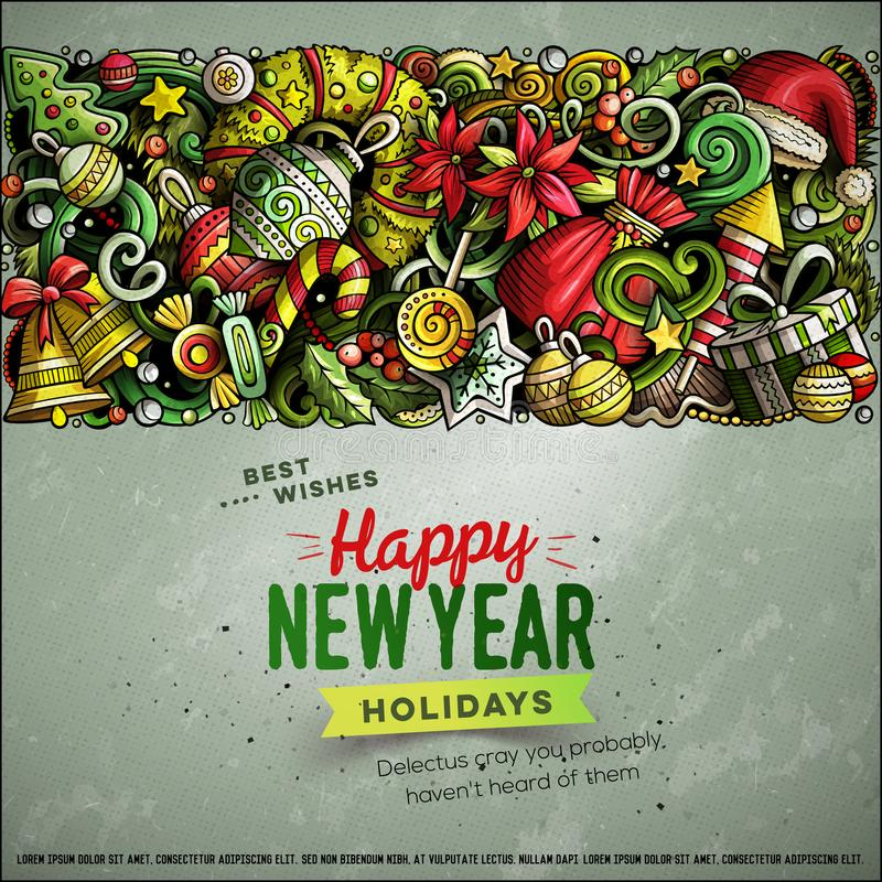 Cartoon vector doodles Merry Christmas horizontal stripe card design stock illustration