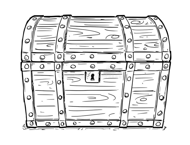 Cartoon Vector Drawing of Old Empty Closed or Locked Pirate Chest stock illustration