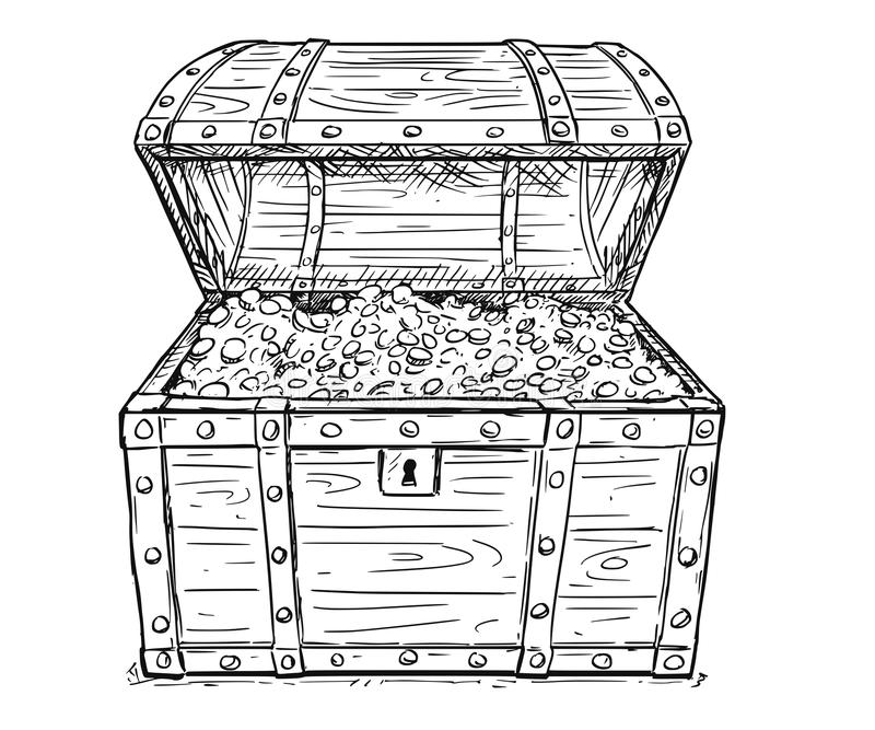 Cartoon Vector Drawing of Old Open Pirate Treasure Chest with Gold Coins Inside stock illustration