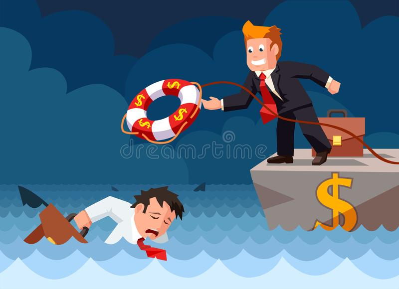 Cartoon vector flat style of a bank employee throwing a lifebuoy to a drowning businessman in danger. royalty free illustration