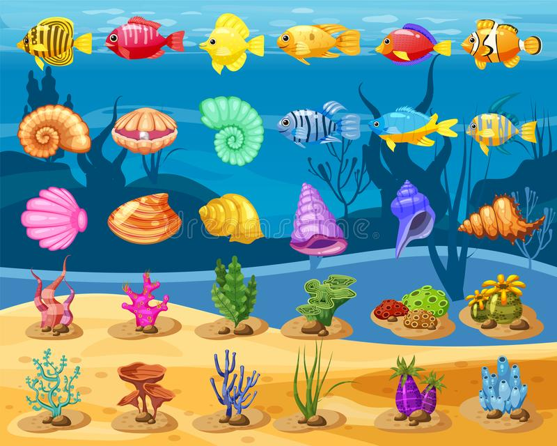 Cartoon Vector game icons with seashell, Colorful coral reef tropical fish, pearl, colorful corals and algae, underwater. Background, for match three game, apps stock illustration