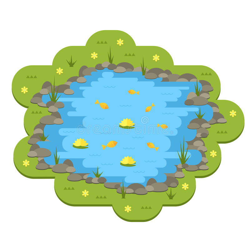 cartoon vector garden pond illustration with water plants and rh dreamstime com aquatic ecosystem clipart pond ecosystem clipart
