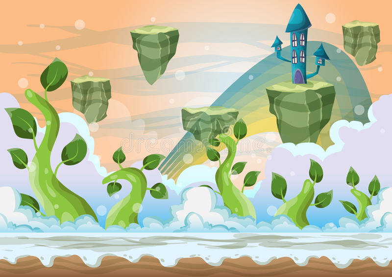 Cartoon vector heaven landscape with separated layers. For game and animation, game design asset stock illustration