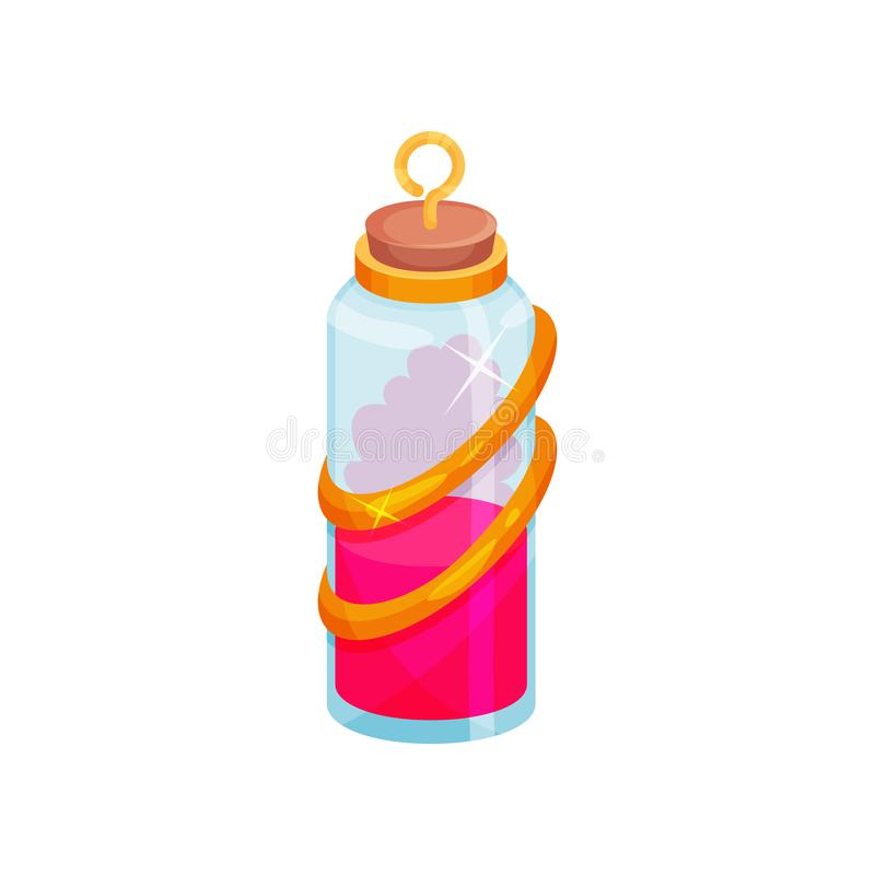 Cartoon vector icon of glass bottle with potion. Small vial with bright pink liquid. Magic elixir vector illustration