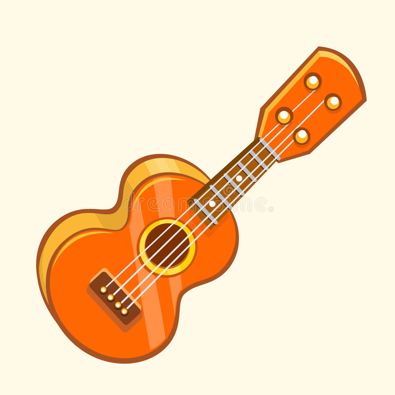Cartoon Vector Illustration of Acoustic Guitar or ukulele. Cartoon clip art. Musical instrument icon. royalty free illustration
