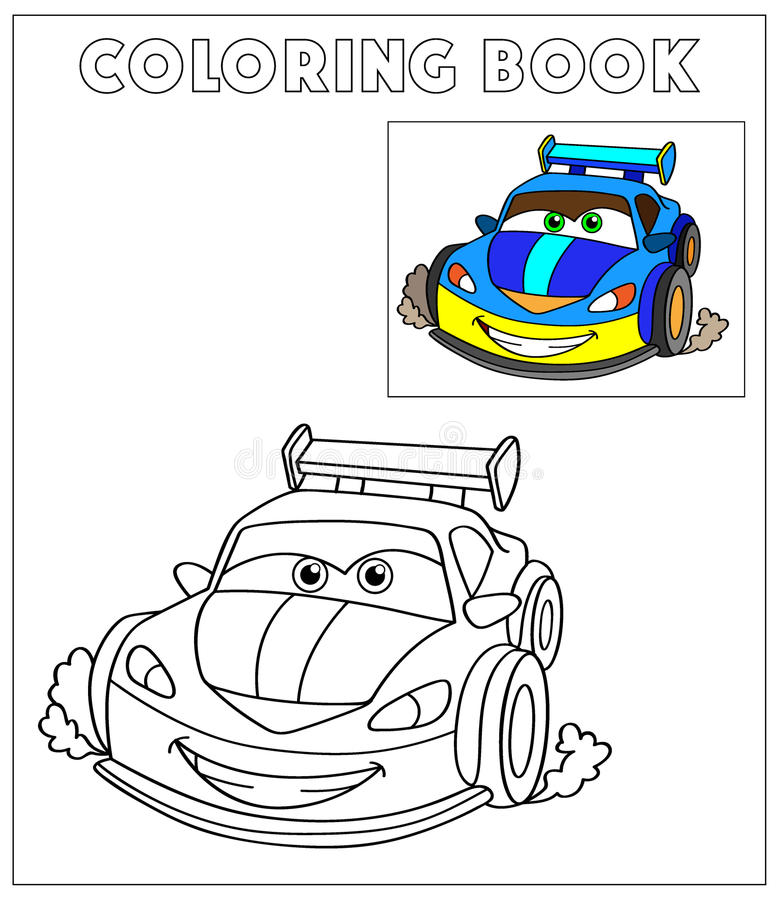 Cartoon Vector Illustration of Black and White Cars. Coloring Book,Illustration for the children, coloring page with violet cartoon car. Doodle Comic Characters vector illustration