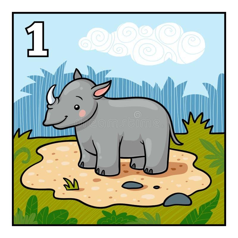 Cartoon illustration for children. One rhino. Cartoon vector illustration for children. Learn to count with animals, one rhino vector illustration