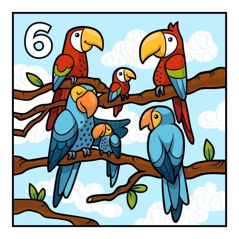 Cartoon illustration for children. Six parrots stock illustration