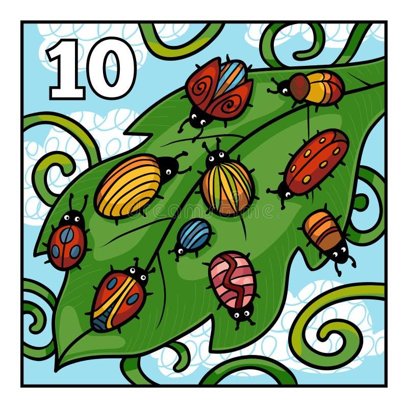 Cartoon illustration for children. Ten bugs stock illustration
