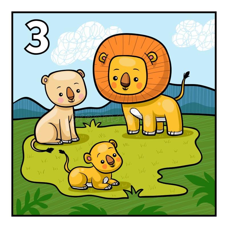 Cartoon illustration for children. Three lions stock illustration