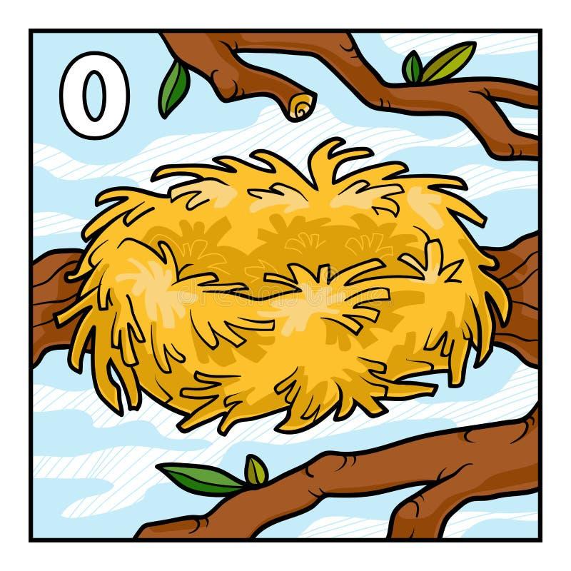 Cartoon illustration for children. Empty nest royalty free illustration