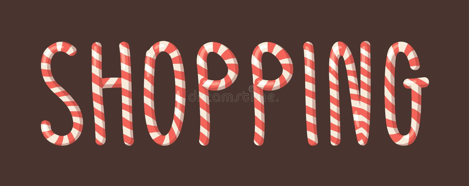 Cartoon vector illustration Christmas Candy Cane. Hand drawn font. Actual Creative Holidays sweet alphabet and word SHOPPING stock illustration