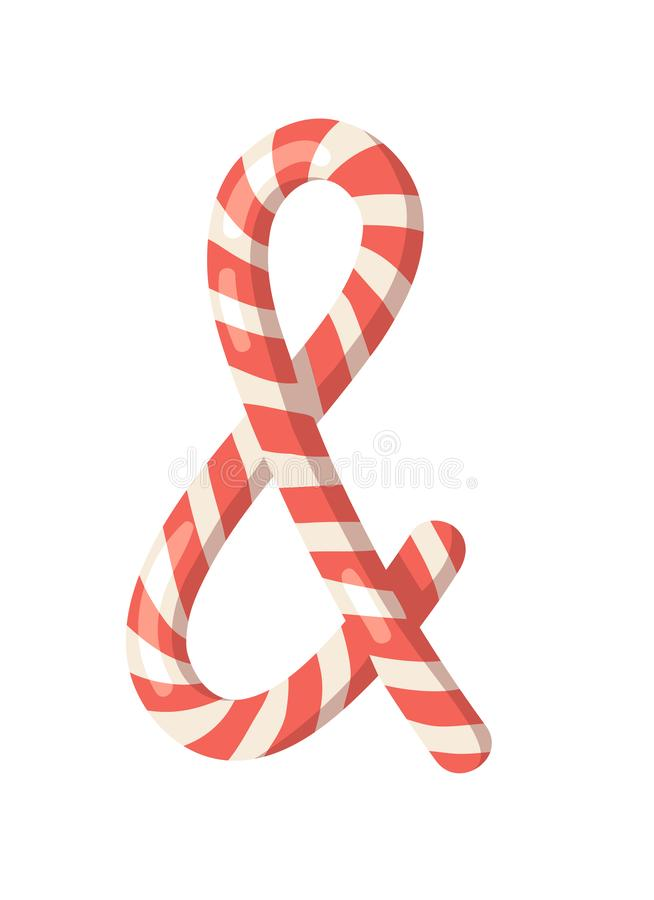 Cartoon vector illustration Christmas Candy Cane. Hand drawn sign font. Actual Creative Holidays sweet symbol ampersand royalty free illustration