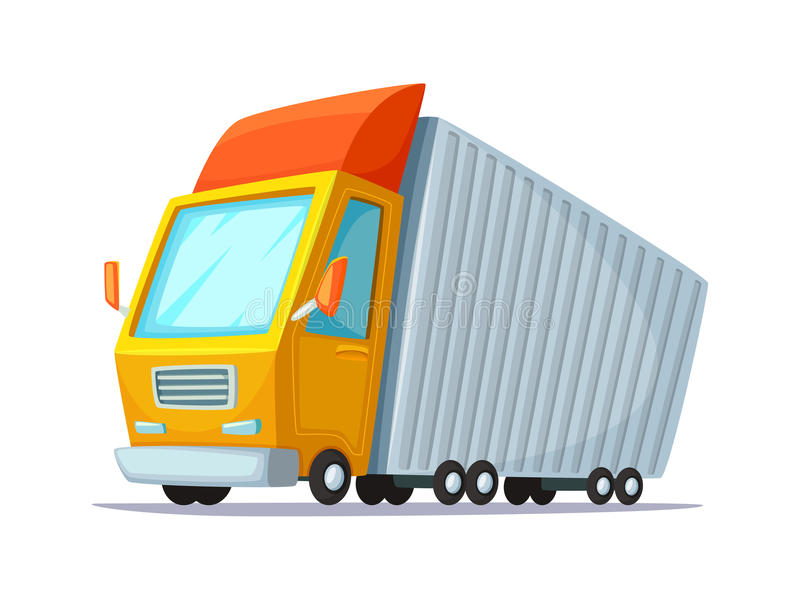 Cartoon vector illustration. Concept design of delivery truck. Lorry for transportation of goods and containers.  vector illustration