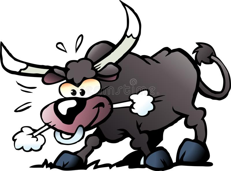 Cartoon Vector illustration of a crazy and angry Bull vector illustration