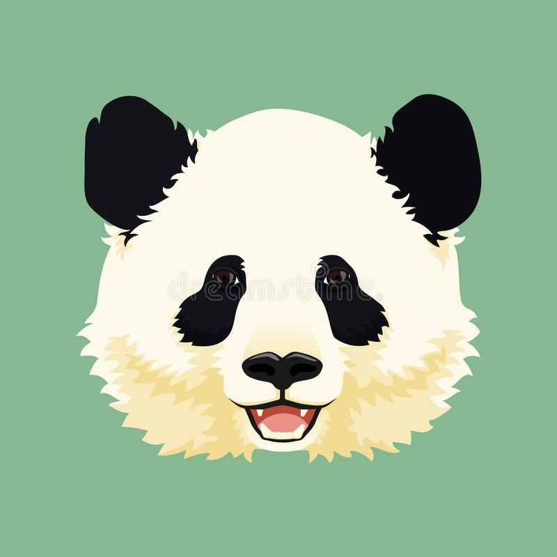 Cartoon vector illustration. Cute smiling giant panda face. Black and white asian bear. royalty free illustration