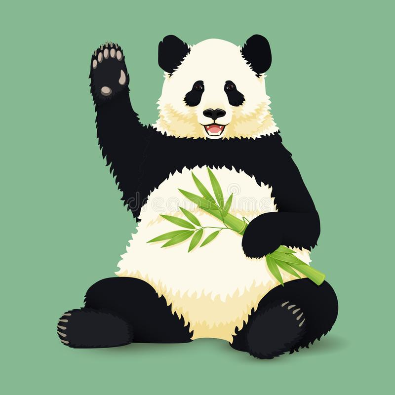 Cartoon vector illustration. Cute smiling giant panda sitting holding green bamboo branch and waving. Black and white asian bear. royalty free illustration