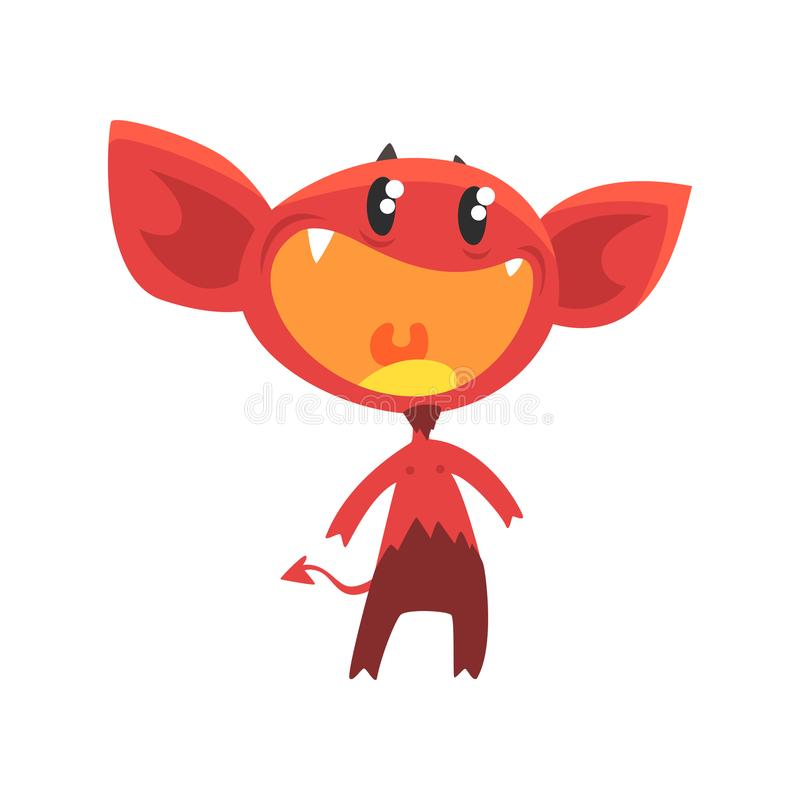 Cartoon flat vector illustration of devil with little horns, big ears, tail and shiny eyes. Red demon with pleasantly vector illustration