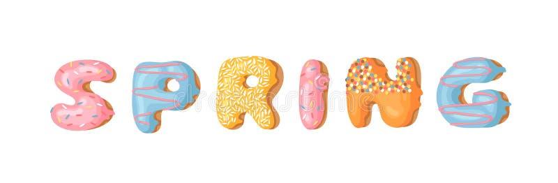 Cartoon vector illustration donut and word SPRING. Hand drawn drawing sweet bun. Actual Creative art work bake royalty free illustration