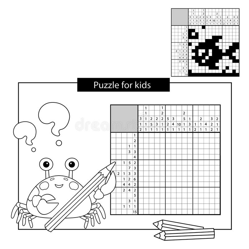 Education Puzzle Game for school Children. Fish. Black and white japanese crossword with answer. Nonogram vector illustration