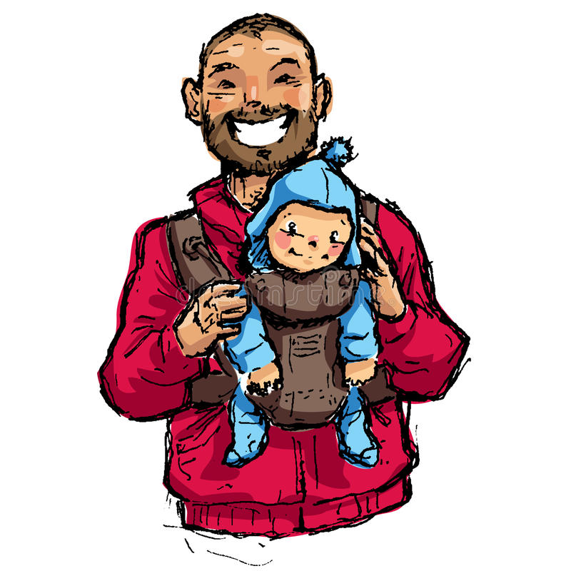 Cartoon vector illustration father with baby son in carrier pouch vector illustration