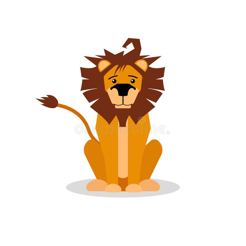 A cartoon vector illustration of a friendly lion sitting and forward facing. Lion character. royalty free illustration