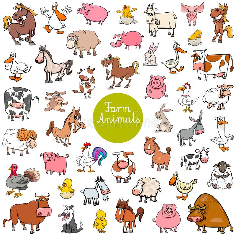 Cartoon farm animal characters big set vector illustration