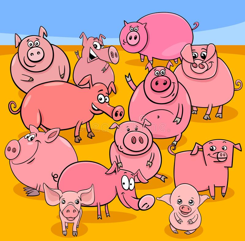 Cartoon pigs farm animal characters group stock illustration