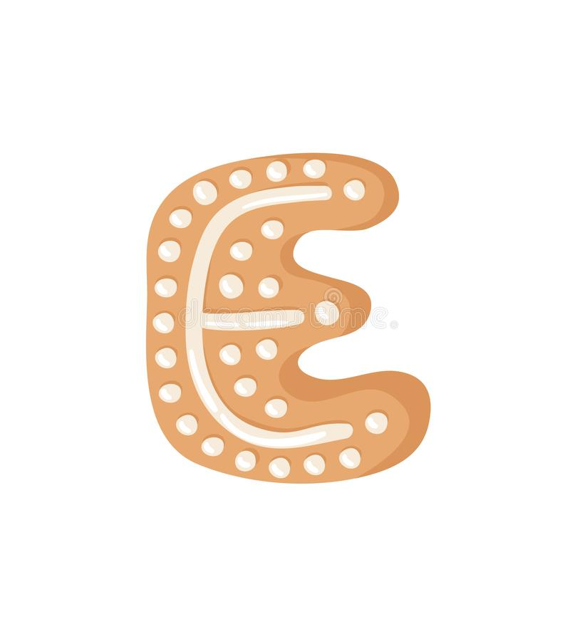 Cartoon vector illustration Ginger bread Cookie Letter E. Hand d royalty free illustration