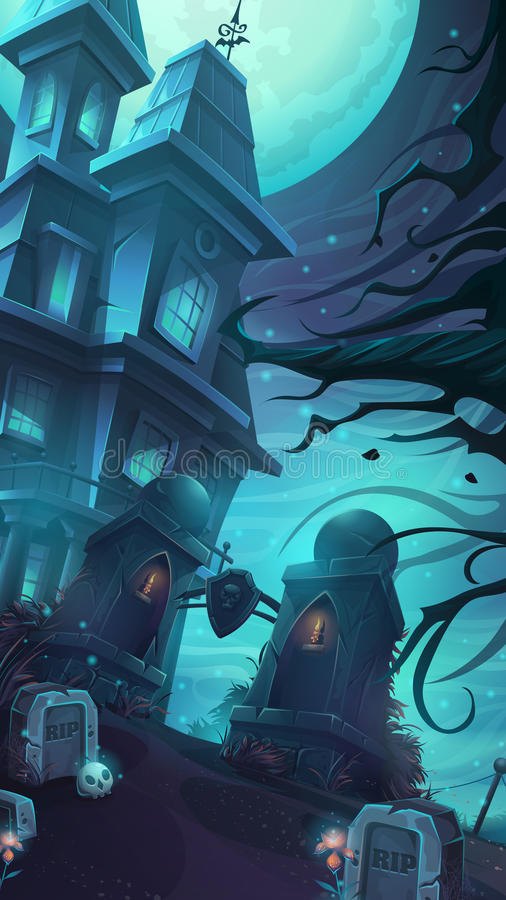 Cartoon vector illustration of a gloomy castle. In the middle of the graves and skulls rip under a full moon vector illustration